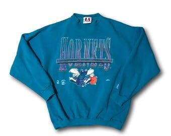 Vintage 80's CHARLOTTE HORNETS Logo Athletic NBA Basketball Sweatshirt nc Sz L
