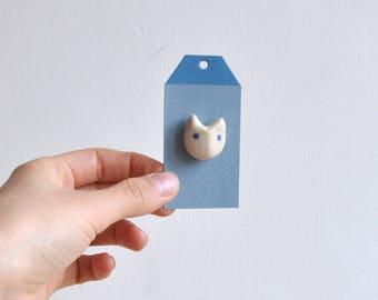 "Ceramic Rabbit Pin ""Bunny"" - cute pins - ceramic bunny charm - rabbit brooch - tie tack - ceramics handmade - ceramic gifts - Rabbit charm"