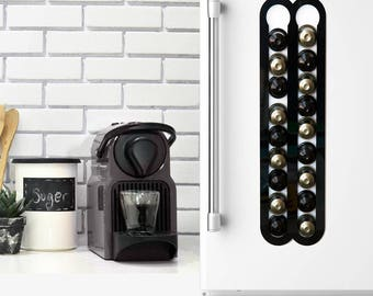 Black Nespresso Coffee Capsules Holder, 20 Coffee Pods Storage, Magnetic Wall Mount, Coffee Pod holder, Coffee Lover Gift Kitchen Decor Gift