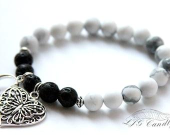 Custom Handmade Diffuser Bracelet, Howlite, Memorial Bracelet, Diffuser Jewelry, Sympathy Gift, Bereavement Gift, Loss of Loved One