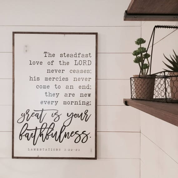 GREAT FAITHFULNESS 2X3 | distressed shabby chic painted wooden sign | rustic wall decor | painted farmhouse wall art