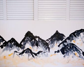 Abstract Mountains on Large Canvas