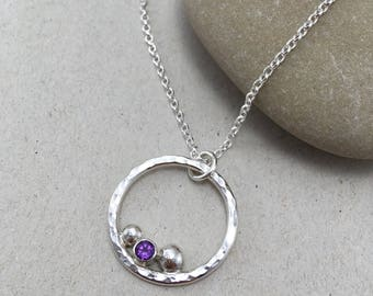 Amethyst Sterling Silver Circle Necklace, Hammered Amethyst Silver Pendant, Silver and Amethyst Necklace on Chain February Birthstone