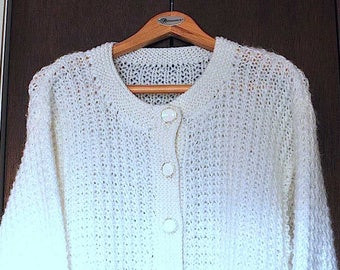 Vintage Hand-knit White Cardigan / Hand Made White Cardigan / Vintage Cardigan / White Acrylic Sweater / Handmade Sweater / Size Large