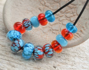 Handmade lampwork glass bead set 14, coral red, turquoise blue dots southwestern jewelry native american beaded necklace beadwork desert
