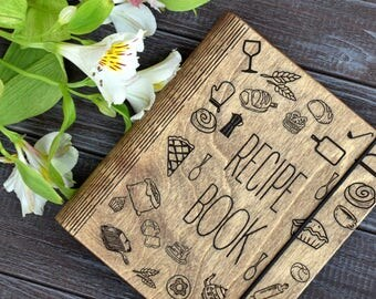Custom Recipe Book Binder Bridal Shower Gift Mothers Day Gift Mom Wooden Notebook Personalized Gift for Bride Engagement Journal Cookbook