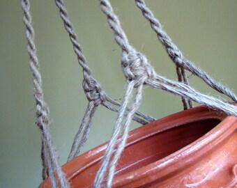Jute Macrame plant hanger-indoor plant holder-Hanging Planter-Hanging Basket-macrame basket-macrame pot hanger-twine plant hanger