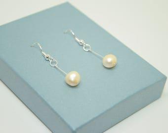 Champagne Pearl Drop Earrings, Sterling Silver Earrings, Bridal Jewellery, Birthstone Jewelry, Dangly Earrings, June Birthstone Jewellery