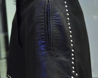 State of Claude Montana Black Leather Studded Shorts