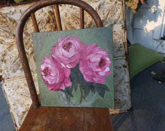 Three Pink Roses or peonies, painting 10x10 original on canvas panel