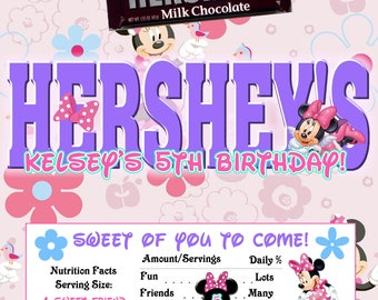 Printable Minnie Mouse Candy Bar Wrappers Birthday 1.55 oz. Hershey's Chocolate Nestle Crunch Party Favor