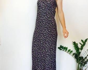 Black floral dress 90s long dress vintage black dress black maxi dress floral maxi dress long black dress long floral dress 90s slip dress s