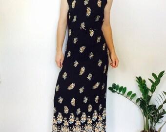 Black paisley dress 90s long dress vintage black dress black maxi dress indian print dress long black dress long bohemian dress boho dress s