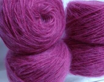 Luxurious Mohair Blend Yarn Cakes, Cosmic Red Raspberry Soft Yarn for Knitting Handmade Accessories, Fiber Art Yarn for Weaving or Trims