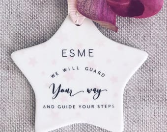 Personalised Guard Your Way Guide your Steps Ceramic Star with StarDetail - Baptism Gift - Christening Gift  - Godson Gift -Keepsake