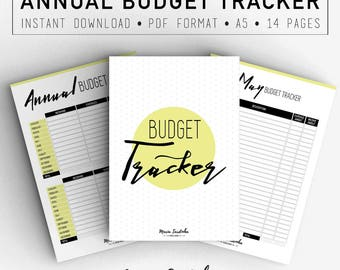 Annual Budget Tracker, Printable A5 Budget, Planner and Organizers, PDF Instant download