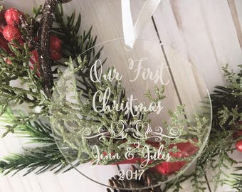 Our First Christmas  Ornament -Personalized Name Acrylic Ornament,Wedding Gift,Engagement Gift,Holiday Engagement,Mr. and Mrs., gift for her