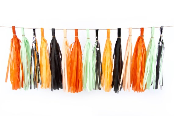 Halloween Tassels, Tissue Tassels, Tassel Banner, Birthday Party Decor, DIY Tassels, Haunted Spooky Decor, Orange, Black, Silver Harvest