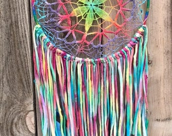 Colorful Handmade Extra Large 100% Recycled Rainbow Tie-Dye Dreamcatcher- 1 tree is planted with every purchase
