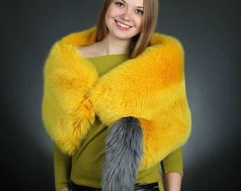 Yellow Fox Fur Scarf With Tail