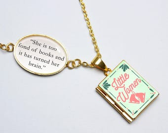 Little Women Book Quote and Locket Charm. She Is Too Fond Of Books Jo March Book Locket. Book Lover Necklace. Literary Gift. Locket Library