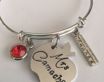 Teacher personalized bracelet-teacher apple bracelet