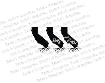 California Roots Deep Rooted 3 State Versions SVG DXF or PNG digital file for use with cutting machines Cricut Silhouette