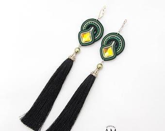 Black Tassel Earrings Green Dangle Earrings Silk Tassel Earrings Long Black Earrings Boho Fringe Earrings Soutache Jewelry