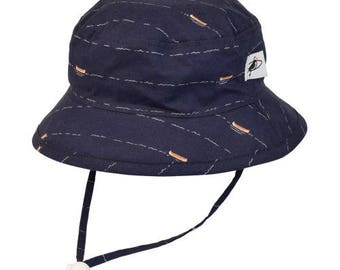Child's Sun Protection Camp Hat - Cotton Print in Canoe (6 month, xxs, xs, s, m, l)