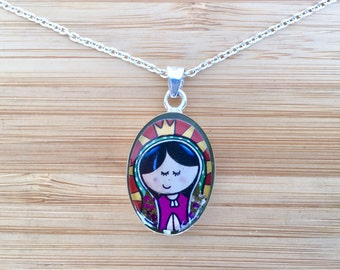 Children's oval Virgin of Guadalupe pendant -- real miniature dried flowers set in casting resin with a sterling silver base