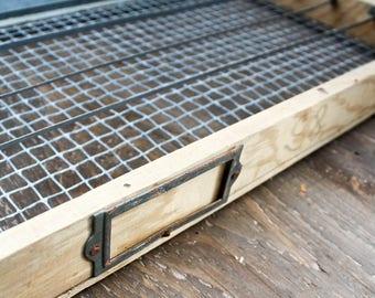Vintage Wood and Metal Incubator Tray Drawer • Farmhouse Decor • Home Decor