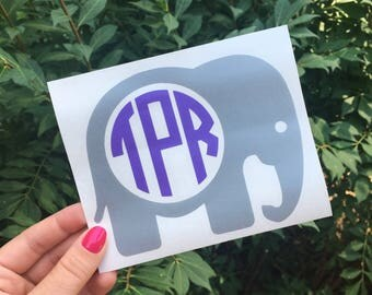 Elephant Monogram Decal Preppy Southern Monogram Vinyl Decal Car Sticker Car Decal Laptop Decal Personalized Water Bottle Decal Animal Zoo