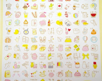 Two sheets Korean stickers, cute planner stickers, food stickers, tea stickers, travel stickers, beauty stickers, shopping stickers, party