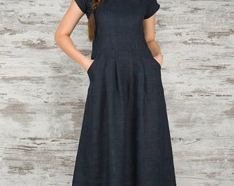 Long blue linen dress, long linen dress, long summer dresses, linen clothing for women, linen womens clothes. dark blue