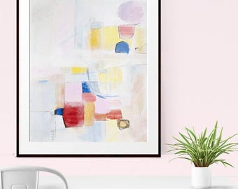 Minimalist Art Print, Abstract Painting , Original Artwork,  Giclee Print , Abstract Art Print , Modern Art , Pink Blue Red Abstract