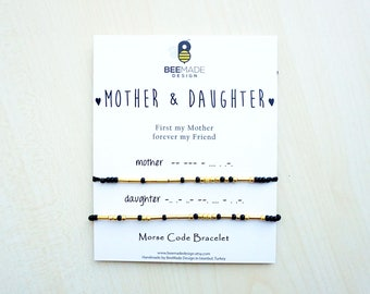 Mothers day gift from Daughter Matching Bracelets Morse Code Bracelets mom gift for her Mom Gifts for Daughter Gifts Mother Daughter gift