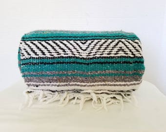 Mexican Serape,Turquoise,Pendelton Style,Saltillo,Mexican Blanket,Fringe,Southwestern Blanket,Falsa,Mexican Throw,Mexican Blanket,Teal Throw