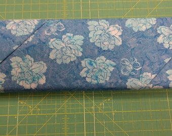 Batik fabric. Bali Murray Goldenberg blue leaves flowers floral leaf quilters quilting cotton 1132