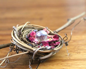 Limited Edition- DIY Birds Nest Rose Petal with Glass Ball