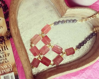 Pink and gray necklace