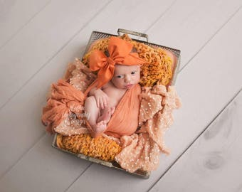 PUMPKIN Gorgeous Wrap- headwrap; fabric head wrap; head wrap; boho; newborn headband; baby headband; toddler headband; bow