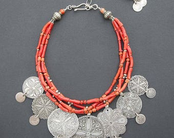 Berber necklace | antique coral beads | Moroccan headdress ornaments | vintage silver pendants | Moroccan coins | modern ethnic jewelry