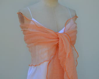 Stole embossed tulle salmon, salmon color scarf, cache shoulder tulle wedding