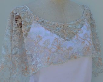 Cape cover-up lace wedding bridal lace, embroidered lace blue wedding cape, lace bridal cover-up embroidered blue