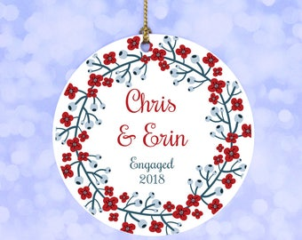 Our First Christmas Engaged Ornament Personalized Ornament
