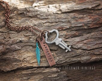 Wanderess Charm Necklace | Boho Copper Jewelry Key Feather Hand-Stamped Wander Gifts for her
