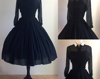 Early 1950's Dior Inspired New Look Inky Black Sheer Chiffon Fit & Flare Shirtwaist Dress with Original Foundation | Size Small