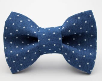 Denim Polka Dot Dog Collar Bow Tie, Dog Bow Tie, Blue Dog Bow Tie, Large Dog Bow Tie, Small Dog Bow Tie, Custom Dog Bow Tie, Wedding Dog