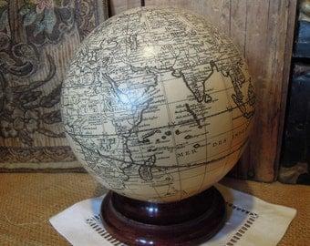 Vintage French Mini Globe / Globe Terrestre Small Globe / Paper Mini World Globe