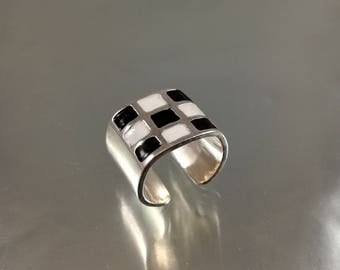 Chess game band ring - Black and white fashion ring - Chemistry Ring - Math ring - 925 sterling silver chess ring